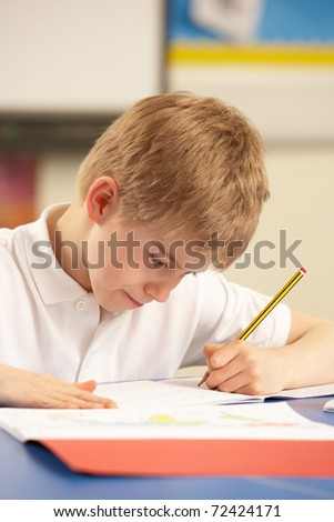 Schoolboy Studying In Classroom
