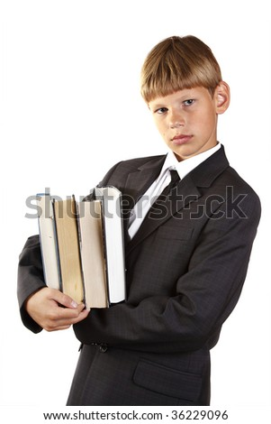 schoolboy with book. isolated on white