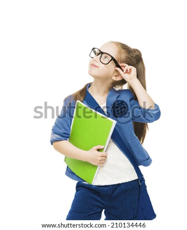 Schoolgirl child in glasses with books looking up. Student school girl isolated white background - stock photo