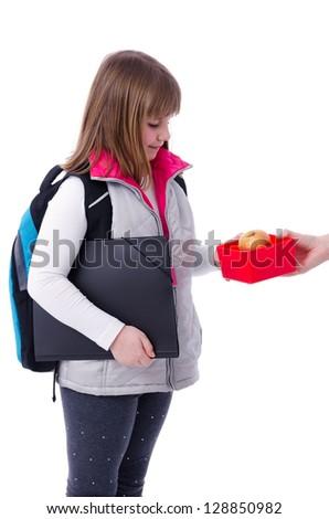 Schoolgirl get breakfast - stock photo