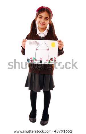 Schoolgirl holding drawing isolated on white