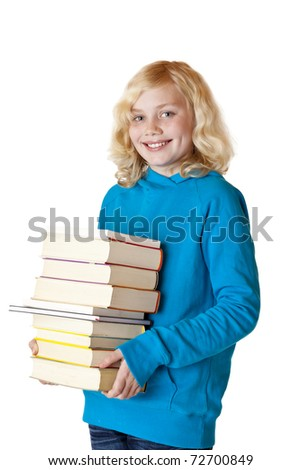 Schoolgirl holding school books and smiles happy. Isolated on white background. - stock photo