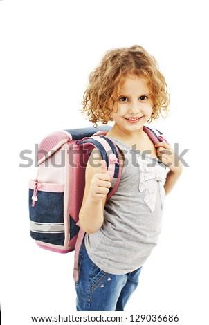 Schoolgirl showing OK sign. Isolated on white background - stock photo
