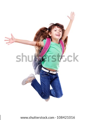 Schoolgirl with bag jumping high on white background - stock photo
