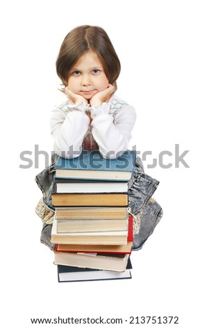 schoolgirl with book. isolated on white - stock photo