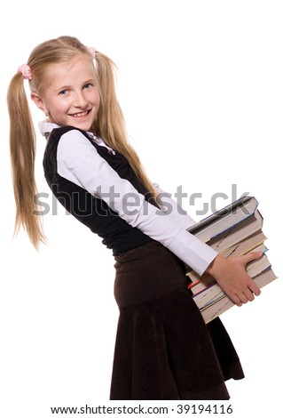 schoolgirl with pile of the books on white background