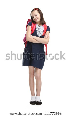 Schoolgirl with the briefcase with crossed arms, isolated, white background - stock photo