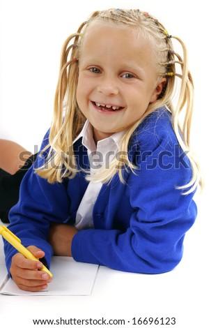 Schoolgirl writing notes - stock photo
