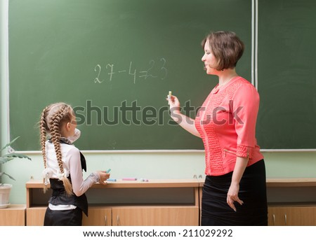 Schoolgirls and teacher in the classroom