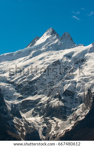 Schreckhorn peak taken from Grindelwald First Top of Europe Switzerland Bernese Alps