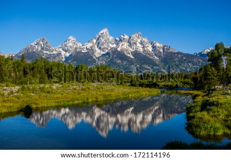 Schwabacher landing in early morning with its reflection. Grand Teton national park, WY - stock photo