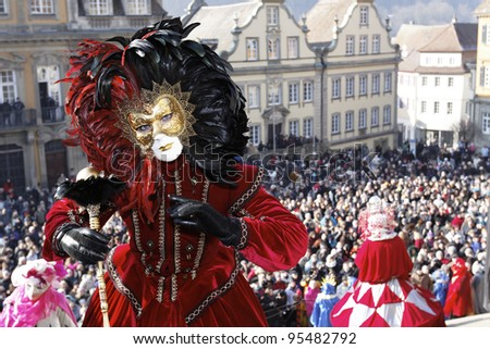 SCHWAEBISCH HALL - FEBRUARY 12: An unidentified person in costume at the event HALLia VENEZiA in the old town Schwaebisch Hall February 12, 2012 - stock photo