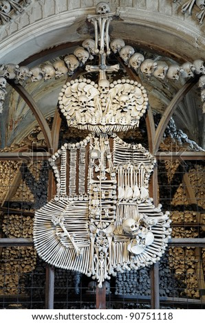 Schwarzenberg coat-of-arms made with bones in Sedlec ossuary (Kostnice), Kutna Hora, Czech Republic - stock photo