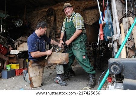 Schwarzhofen, Bavaria - September 02, 2014. Blacksmith, or equine farrier with the  horse owner at work while changing a horseshoe, before the start of autumn seasonal work  - stock photo