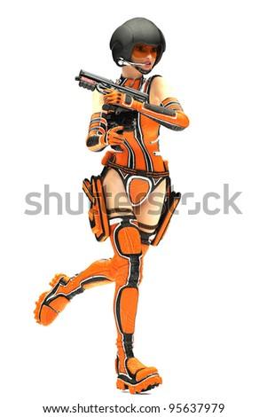 Sci-Fi Girl running - stock photo