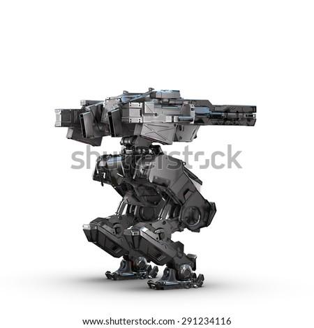 sci fi military metallic robot on white background - stock photo