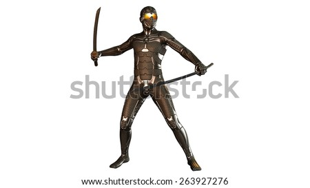 Sci-Fi Ninja warrior fighting with two katana swords in armor, isolated on white background - stock photo