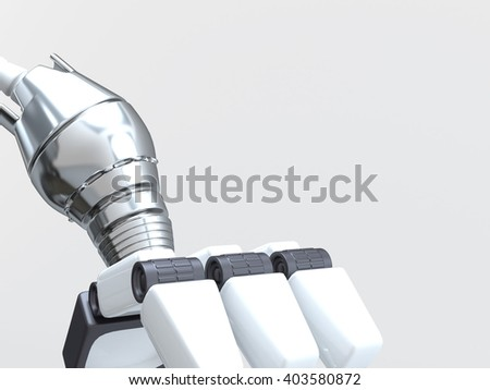 Sci-fi robot arm, made of compound metallic. 3D illustration. - stock photo