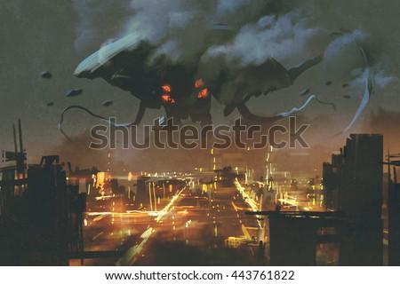 sci-fi scene,Alien monster invading night city,illustation painting