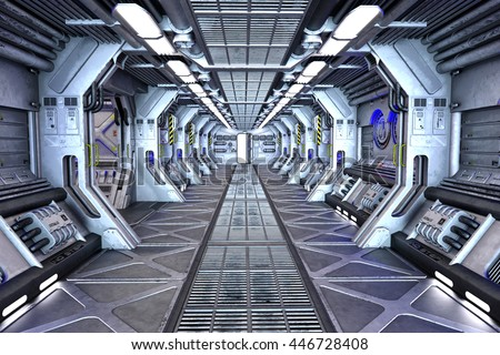 sci fi space station corridor interior 3 d stock illustration 446728408 shutterstock. Black Bedroom Furniture Sets. Home Design Ideas