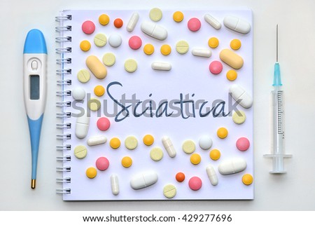 Sciatica. Diagnosis on white background - stock photo