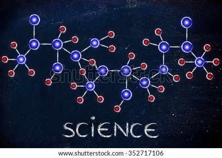 science and chemistry: molecule inspired illustration with glowing centres (atoms) and connections