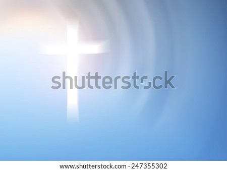 Science and religion. Christian religion. Illustration with cross of christ