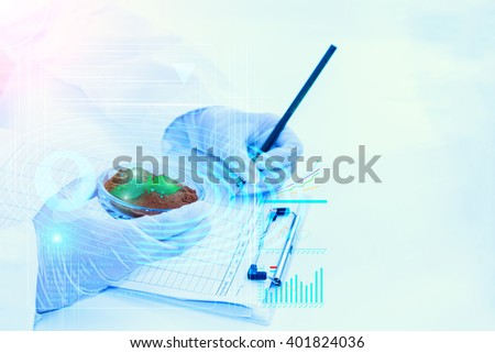 science, biology, ecology, research concept. - stock photo