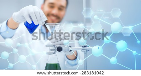 science, chemistry, biology, medicine and people concept - close up of scientist filling test tubes with funnel and making research in clinical laboratory over blue molecular structure background - stock photo