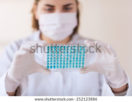 science, chemistry, biology, medicine and people concept - close up of young female scientist with pipette and flask making test or research in clinical laboratory - stock photo
