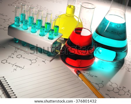 Science chemistry concept. Laboratory test tubes and flasks with colored liquids. 3d - stock photo