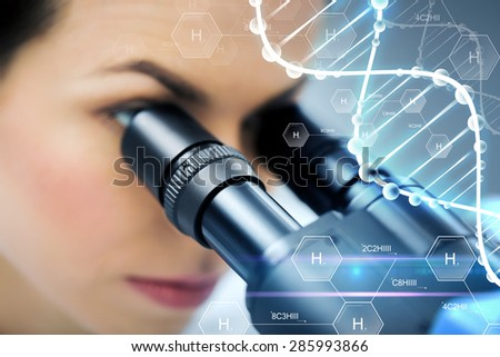 science, chemistry, technology, biology and people concept - close up of female scientist looking to microscope in clinical laboratory over hydrogen chemical formula and dna molecule structure - stock photo