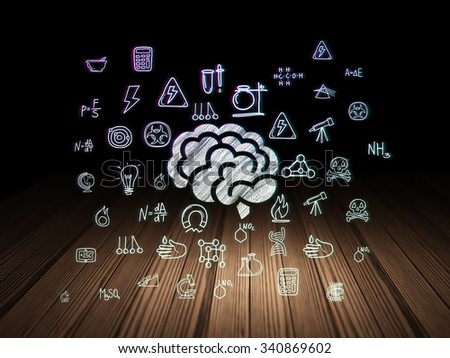 Science concept: Glowing Brain icon in grunge dark room with Wooden Floor, black background with  Hand Drawn Science Icons - stock photo
