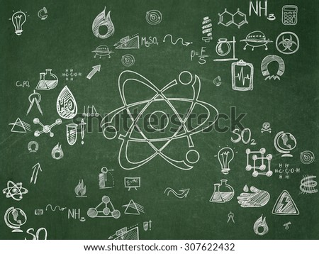 Science concept: Molecule on School Board background - stock photo
