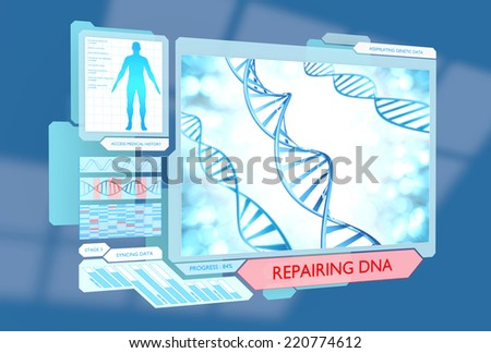 Science concept of DNA repair via new advanced medical technology - stock photo