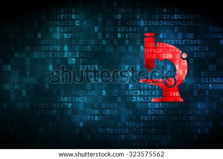 Science concept: pixelated Microscope icon on digital background, empty copyspace for card, text, advertising - stock photo