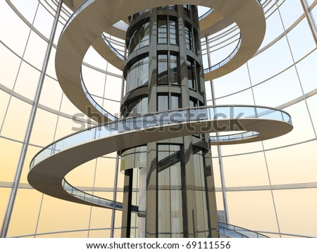 Science fiction architecture visualization. 3D rendered illustration.