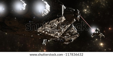 Science fiction battleship chasing a smaller vessel through intersteller space, 3d digitally rendered illustration - stock photo