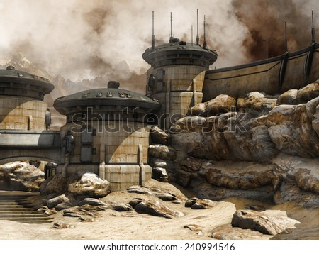 Science fiction buildings in the desert - stock photo