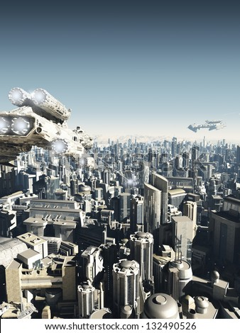 Science fiction city being attacked from above, 3d digitally rendered illustration - stock photo