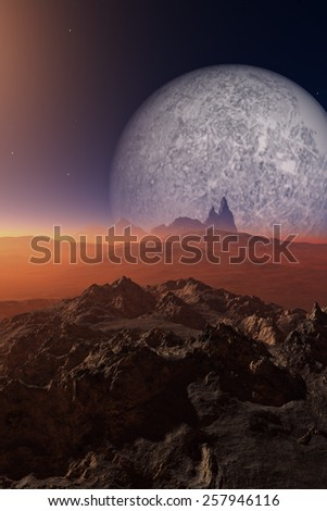 Science-Fiction desert with rocks and planet in background - stock photo