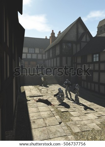 Science fiction fantasy illustration of a group of futuristic space marines visiting a Medieval style town on an alien world, digital illustration (3d rendering)