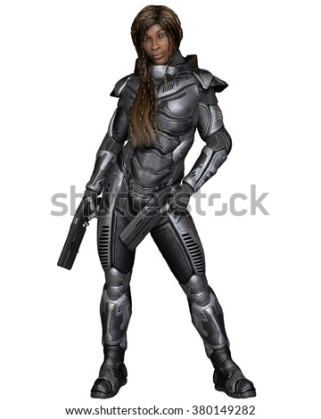 Science fiction illustration of a black female future soldier in protective armoured space suit, standing holding pistols, 3d digitally rendered illustration