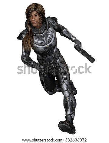 Science fiction illustration of a black female future soldier in protective armoured space suit, running forward, back view, 3d digitally rendered illustration