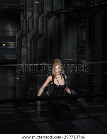 Science fiction illustration of a blonde female warrior character crouching in a dark city street at night, 3d digitally rendered illustration - stock photo