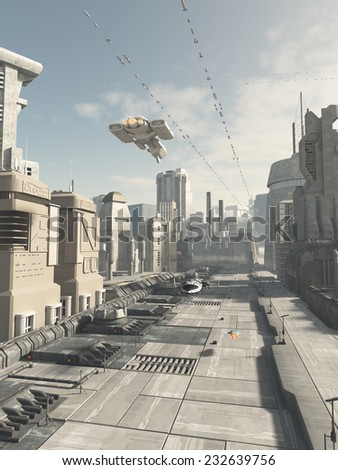 Science fiction illustration of a future city street with aerial traffic overhead, 3d digitally rendered illustration - stock photo