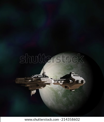 Science fiction illustration of a gunship in deep space, 3d digitally rendered illustration - stock photo