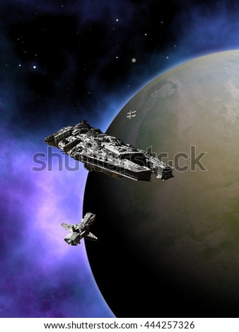 Science fiction illustration of a small fleet of three spaceships in orbit around a green planet with a purple nebula in deep space, digital illustration (3d rendering)