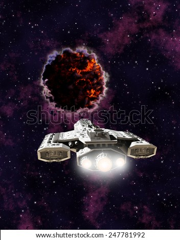 Science fiction illustration of a spaceship encountering an alien entity in outer space, 3d digitally rendered illustration - stock photo