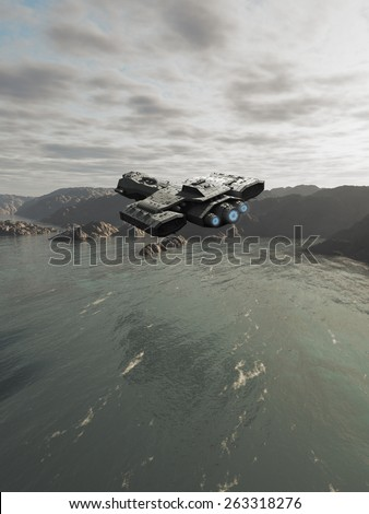 Science fiction illustration of a spaceship flying over the ocean on an alien planet, 3d digitally rendered illustration - stock photo